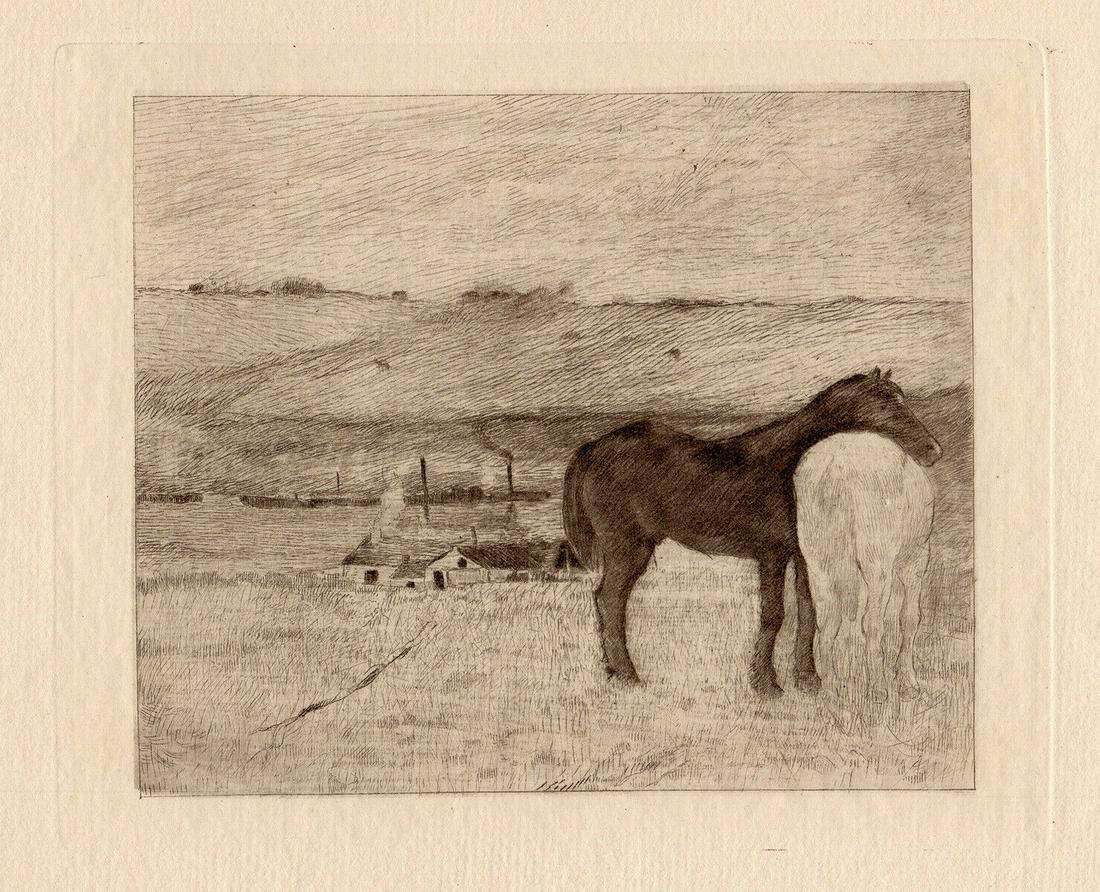 Edgar Degas 1892 Etching Horses in pasture