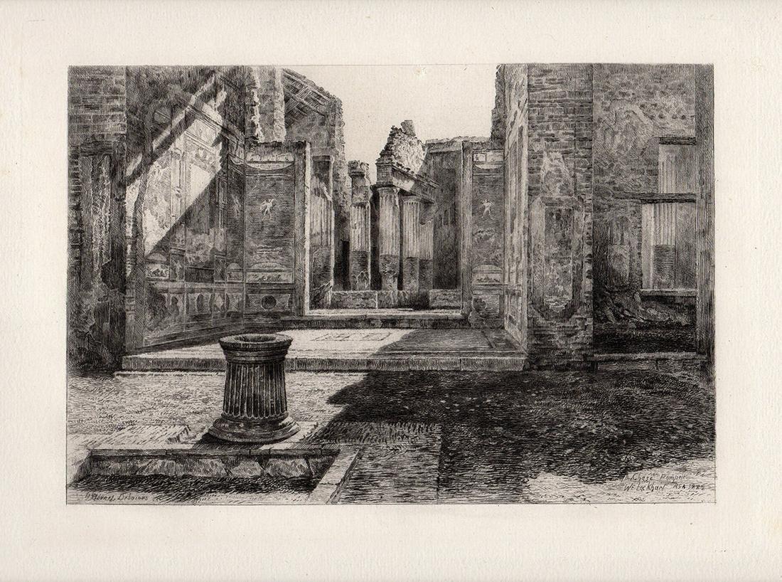 William Ewart Lockhart 1883 etching Pompeii signed