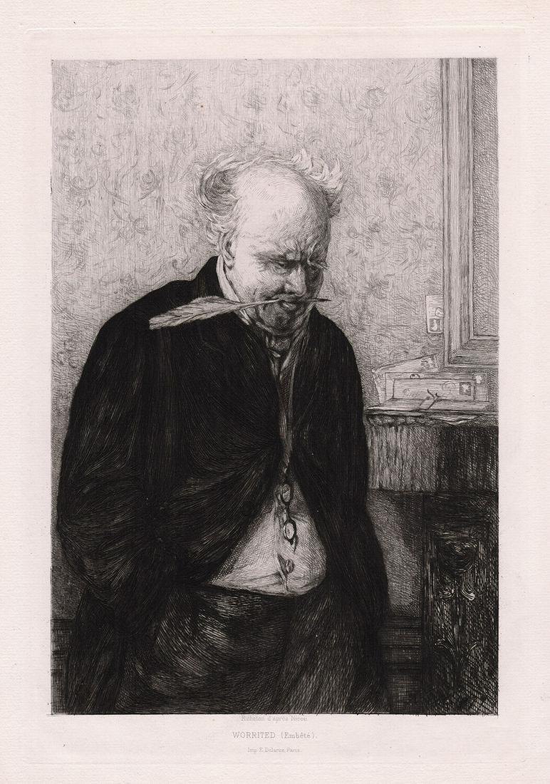 Erskine Nicol Worried 1879 etching