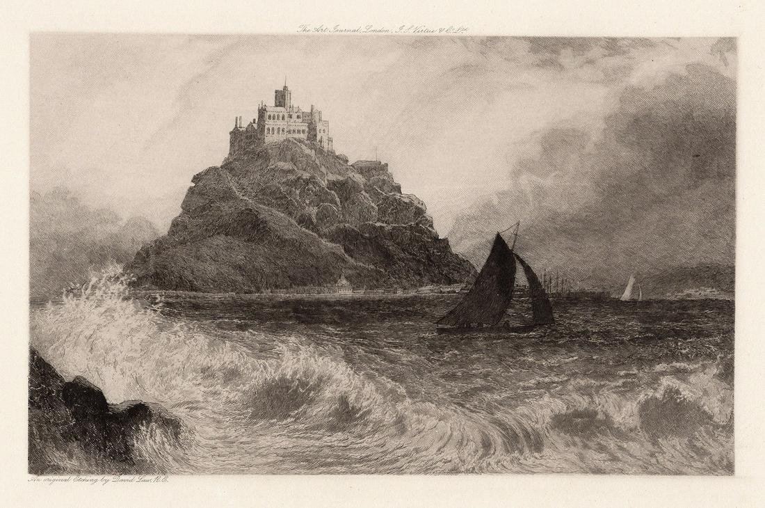David Law St. Michaels Mount Cornwall 1898 etching