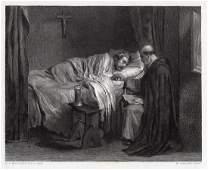 Ernest Meissonier The Last Prayer engraving signed