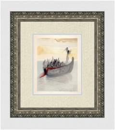 1960 Salvador Dali Ship Souls Original Woodcut