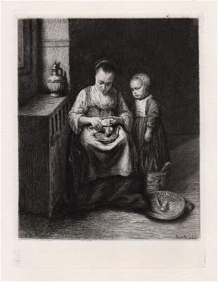 Nicolas Maes Woman scraping Parsnips 1874 etching