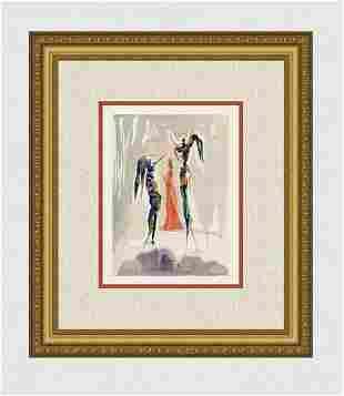 1960 Salvador Dali Angels Original Woodcut Signed