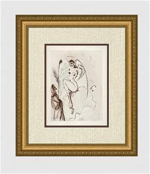 1960 Salvador Dali Archangel Gabriel Woodcut