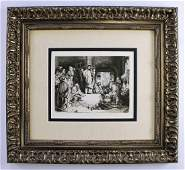 1800s REMBRANDT B67 Etching Christ Preaching Durand