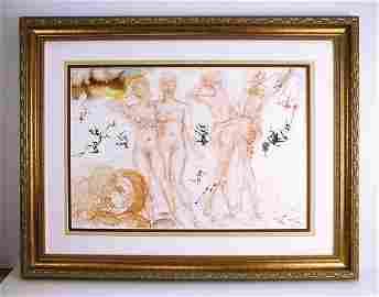 Dali 1967 Original Framed Lithograph Biblia Sacra