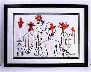 Alexander Calder Framed Abstract totems Original