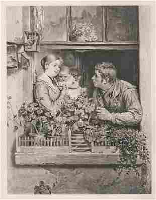 Arthur Stocks A Window Garden 1884 print