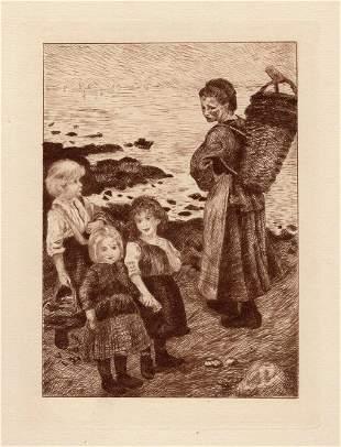 "Auguste RENOIR 1892 Etching ""Fisherman at the Seaside"""