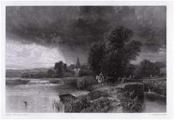 George Vicat Cole Showery Weather (The Lock) engraving