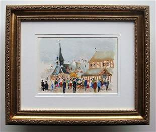 Urbain Huchet Market in Normandie lithograph signed