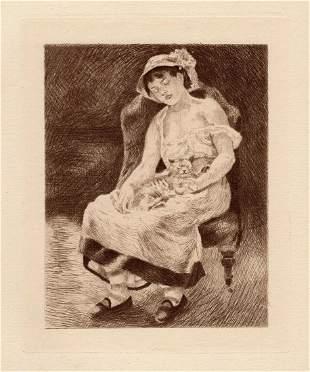 Auguste RENOIR Drypoint 1892 Etching Femme Au Chat
