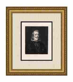 Diego Velazquez Philip IV. of Spain 1874 etching