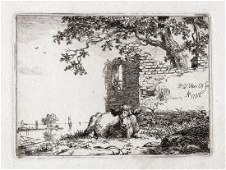 Pieter van Os The Young Bull 1798 Etching