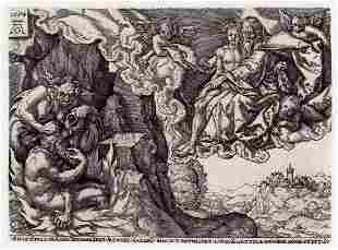Aldegrever 1877 engraving Rich Man in Hell signed