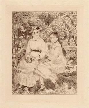 Auguste RENOIR 1892 Etching Two Women In Garden