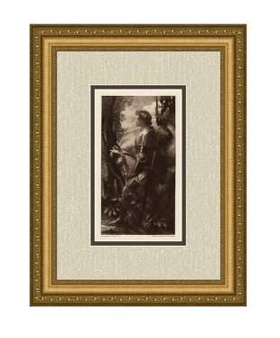 1899 George Frederic Watts Sir Galahad etching signed