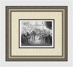 Gustave Dore Cinderella II 1880 Woodcut Signed