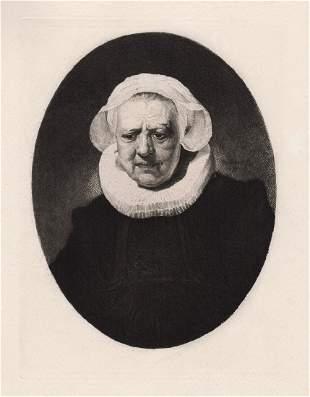 Rembrandt Portrait an Old Lady c. 1880 etching