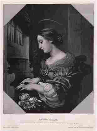 Carlo Dolci Heilige Cacilie (Saint Cecilia) woodcut