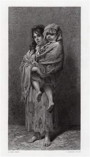 Gustave Dore Homeless engraving signed