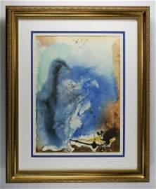 Dali Sea and Land 1967 Biblia Sacra Lithograph Framed