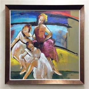 Helen Zarin Original Painting Ballet Dancers 50 x 50