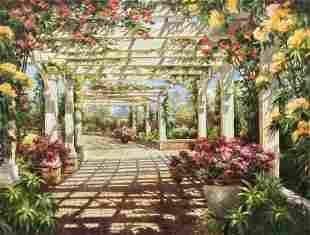 Monumental Original Oil Painting Elizabeth Pena Garden