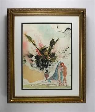 Salvador Dali 1967 Original Biblia Sacra Noah Framed