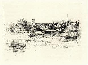 William Roberts 1871 etching Chepstow on the Wye signed