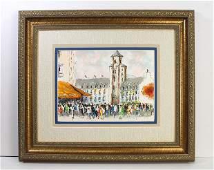 Urbain Huchet Saint Germain des Pres lithograph signed