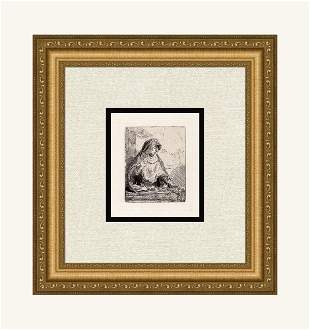 Rembrandt Etching Virgin Framed