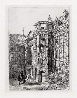 Sir Ernest George 1875 etching Blois. Staircase of
