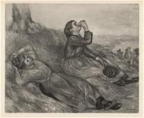 "RENOIR 1919 Engraving ""The Resting Haymakers"" Framed"