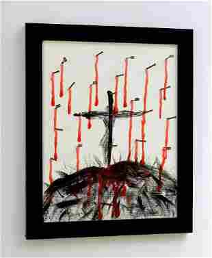 Patrick Mcdowell Crucifixion Acrylic Original