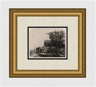 1800s REMBRANDT B217 Etching SIGNED Landscape with