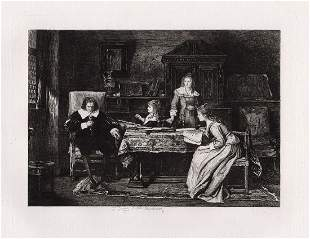 Mihaly Munkacsy 1880 etching Milton dictating Paradise
