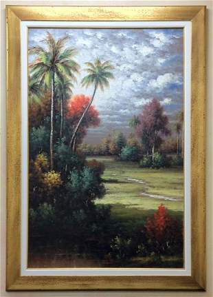 Monumental Pablo Munoz Old Florida Painting 48 x 72