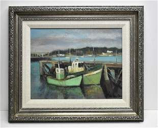 Vintage French oil painting Boats in Harbor