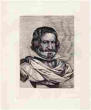 Diego Velazquez Duke of Olivares c. 1880 etching