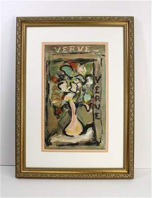 Georges Henri Rouault Vase of Flowers lithograph signed