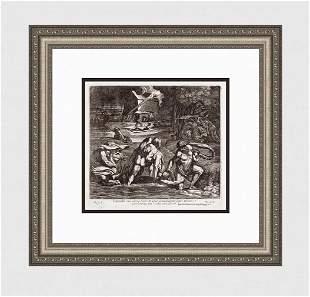 Raphael 1649 Engraving Vatican The Flood or Deluge