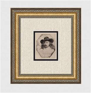 1800s REMBRANDT B329 Etching Young Man Wide Hat DURAND
