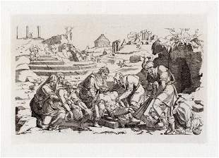 Jean Cousin The Entombment 1880 etching Durand
