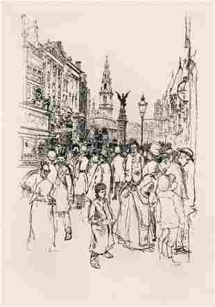 Joseph Pennell By the Law Courts 1890 etching