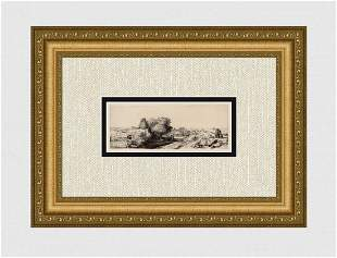 1800s REMBRANDT B213 Etching Landscape with a Fisherman