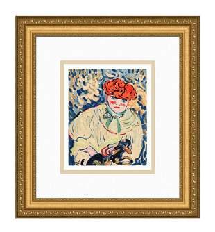 Maurice de Vlaminck Femme au Chien 1958 lithograph