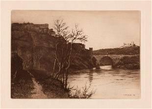 1891 Henry Raeburn Bridge of Alcantara Toledo etching