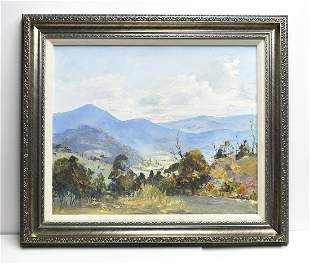 Margaret Hunter Into the Valley Australian Oil Painting